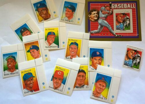 Topical Stamps Sports: Comoros, St Vincent Baseball~Hall of Famers~Ruth~Clemens