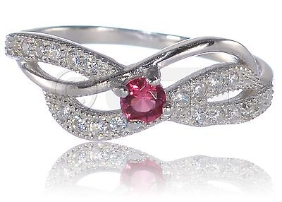 - Ruby Red Infinity Celtic Round Cut Layered Clear CZ Genuine Sterling Silver Ring