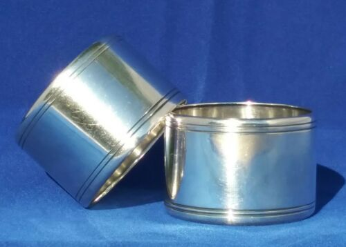 Pair of Tiffany & Co Sterling Silver Napkin Rings Monogrammed # 21297