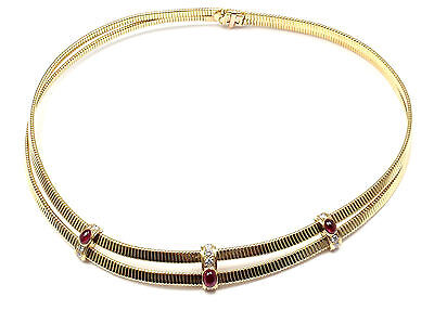 Rare! Authentic Van Cleef & Arpels VCA 18k Yellow Gold Diamond Ruby Necklace