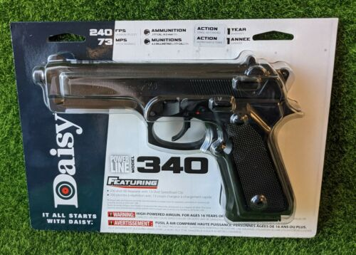 Daisy Powerline 340 BB Pistol, .177 Cal, 240FPS Spring Piston Black - 980340-342