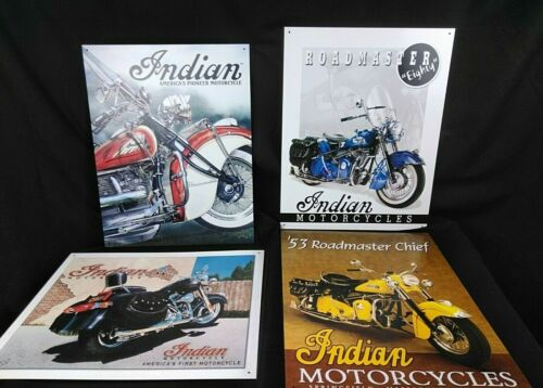 Indian Scout Motorcycle ⭐FOUR SIGNS⭐ LOT Metal Tin Signs  1996, 2001 & two  2003