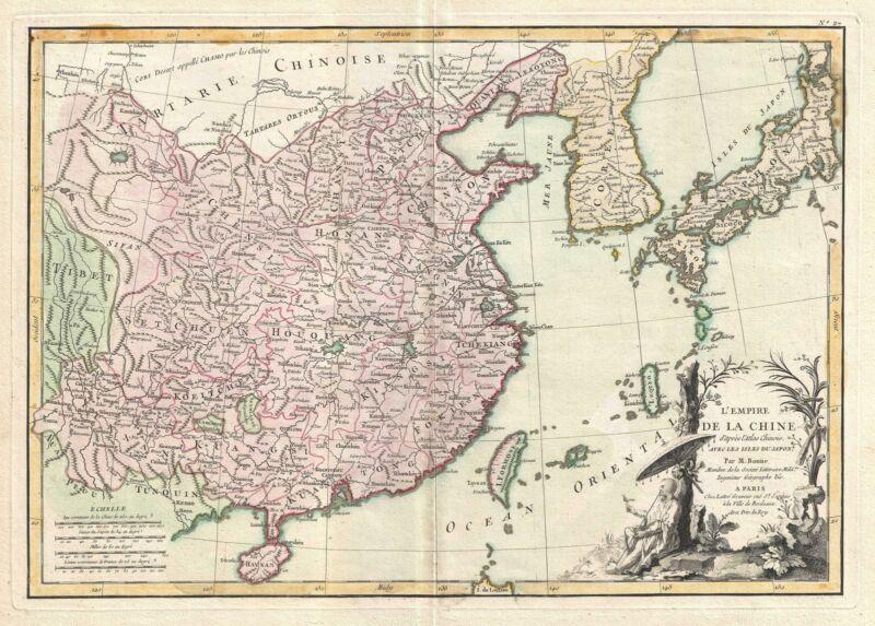 1770 Bonne Map of China, Korea, Japan and Formosa