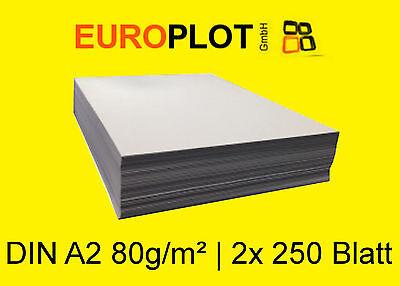 (0,28€/m²) Kopierpapier 2x 250 Blatt | 80g/m² DIN A2 Plotterpapier Zeichenpapier