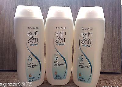 """(1,96€/100ml) Avon 3 x Skin So Soft Original Badeöl, Körperöl mit Jojoba """"750ml"""""""