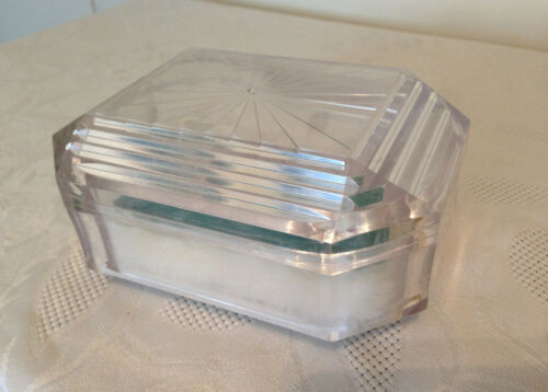 Vintage Coty Emeraude Lucite Vanity Box & Powder Puff Facets of Romance
