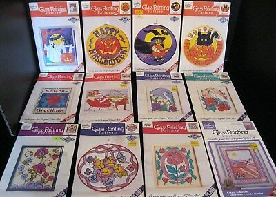 LOT OF 12 GALLERY GLASS PAINTING PATTERNS HALLOWEEN CHRISTMAS FLORAL & MORE! NEW