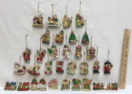 Christmas Ornaments Small Ceramic Set 32 Carolers Trees Stocking Nutcracker Bell