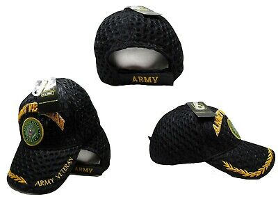 US Army Veteran Vet Textured Mesh Black Ball Cap Hat Embroidered 3D CAP591A TOPW