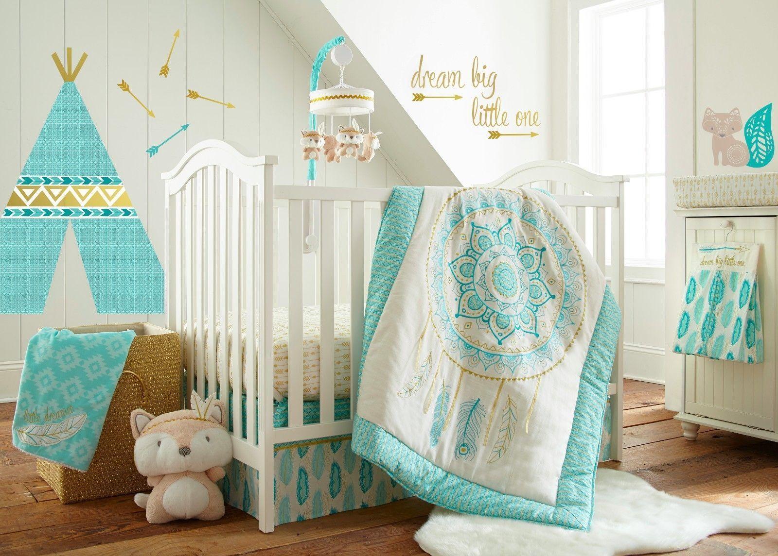 Levtex Baby Little Feather 5 Piece Crib Bedding Set - Aqua