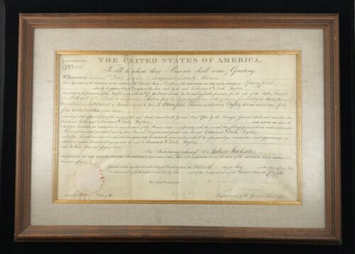 """1831 Land Grant to """"the Father of the Greenback"""" signed for Andrew Jackson"""
