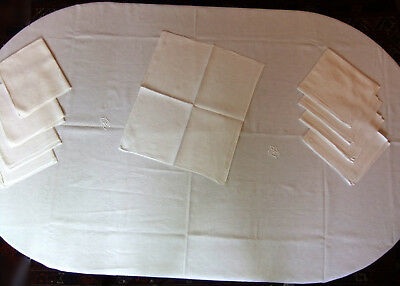 Table set damask nappe 2m10 x 1m60 + 9 napkins