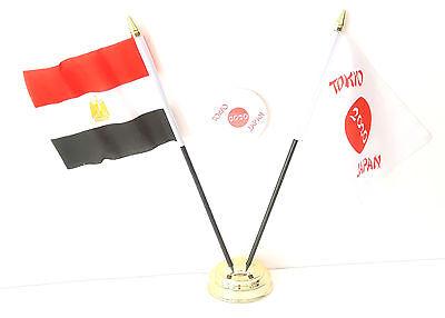 Egypt & Tokyo Japan Olympics 2020 Desk Flags & 59mm BadgeSet