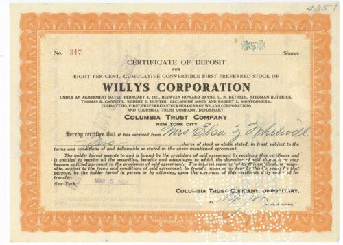 Willys Corporation. Stock Certificate of Deposit. 1921