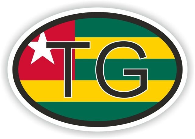 Togo Tg Africa Oval Country Code Flag Sticker Bumper Bike Scooter