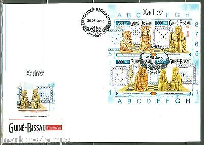 GUINEA BISSAU 2015  CHESS PIECES KING BISHOP KNIGHT & QUEEN SHEET FDC