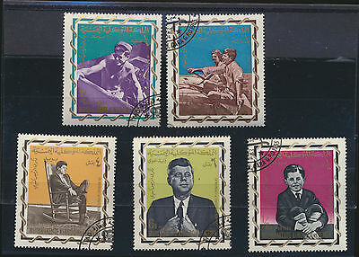 John F Kennedy Stamp - John F Kennedy young and older images 35th US President Set of 5 stamps Yemen