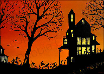 Halloween witch silhouette party black cat Giclee ACEO print folk art Criswell](Halloween Folk Art Paintings)