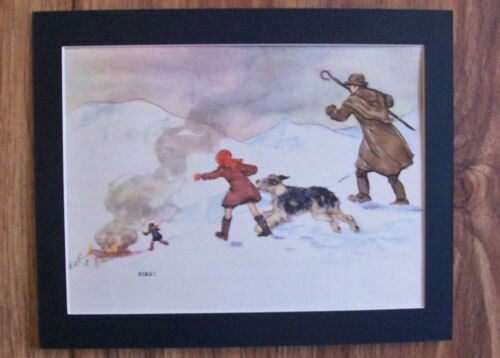 Print Sheepdog Children Vernon Stokes Fire 1947 Bookplate 8x10 Matted Adorable