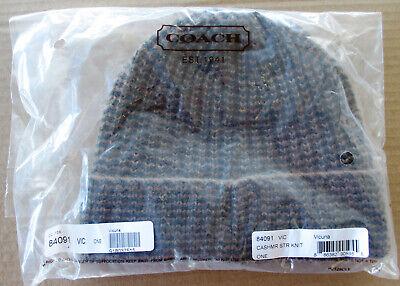 $128 Genuine COACH 100% Cashmere Solid Rib Knit Beanie Hat VICUNA New 84091   Rib Knit Hat