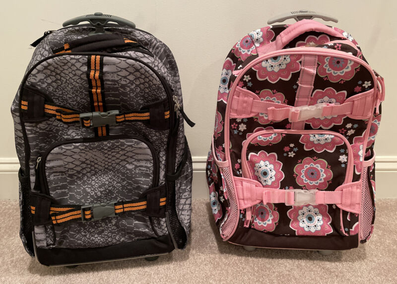 Two Pottery Barn Kids Rolling Backpacks