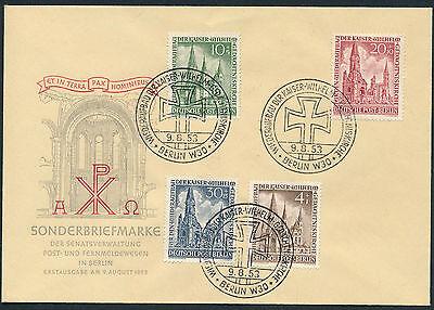 Berlin Gedächtniskirche 1953 amtlicher Ersttagsbrief Michel 106-109 (S11913)