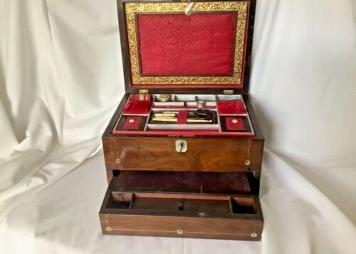 MAGNIFICENT WILLIAM IV ROSEWOOD SEWING,WRITING BOX, WITH FITTINGS.