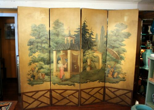 Antique Painted Screen French Chinoiserie Chinese Garden 4 Panel Large 80x100""