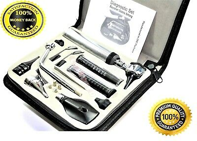 New Professional Ophthalmoscope Otoscope Ent Nasal Larynx Diagnostic Set4 Bulb