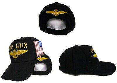 Embroidered Black Military US Navy Top Gun Baseball Hat Cap