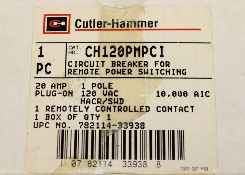 CUTLER HAMMER Type CH Remote Control Circuit Breaker 20A Single Pole CH120PMPCI