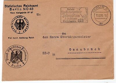 Germany 1936 stampless  freepost official envelopes from Berlin to Osnabruck