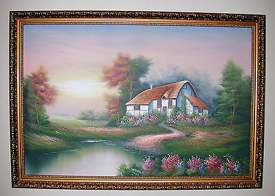 Surreal Cottage 36  X 24    Original Oil Painting   Signed W  Amion