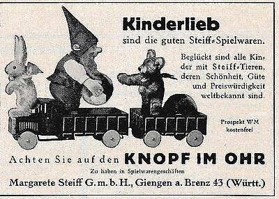 1928 Steiff Hase Zwerg Bär LKW Ball Kindelieb 10x7 cm original Printwerbung