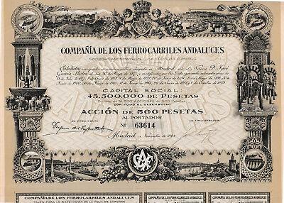 Comp de los Ferro Carriles Andaluces Eisenbahn Aktie Madrid 1924 Spanien Sevilla
