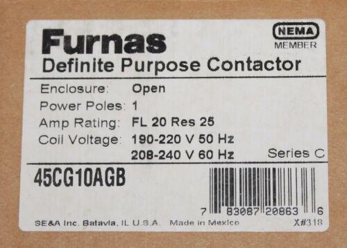 SIEMENS FURNAS 45CG10AGB Single Pole 190-240V 20 Amp Contactor