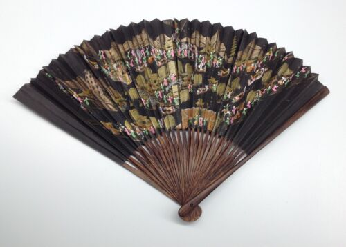 Antique CHINESE FAN Signed hand painted beautiful detailed rare art China fine