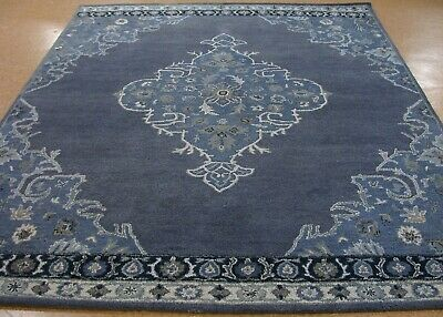 9' x 12' Pottery Barn Bryson Navy Rug New Hand Tufted Wool Carpet Hand Tufted Carpets
