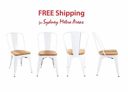 SALE - Xavier Pauchard Style Wood Seat Tolix Chair (Set of 4)