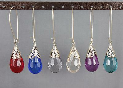 - teardrop bead dangle earrings kidney oval ear wire 3.25