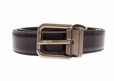 NEW DOLCE & GABBANA Belt Brown Shiny Leather Gold Buckle s. 105cm / 4