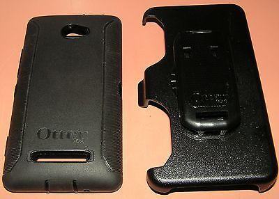 Otterbox Defender Case Htc Windows Phone 8X  All Black W Holster Belt Clip  New