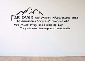 The Hobbit / Lord Of The Rings -  Wall Art Decal Sticker -  Misty Mountains LOTR