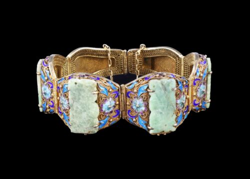 A CHINESE ANTIQUE JADEITE FILIGREE CLOISONNE SILVER BRACELET, QING DYNASTY