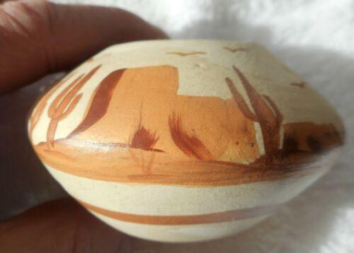 Signed Thora Vintage Navajo Native American Pottery Bowl Saguaro cactus design