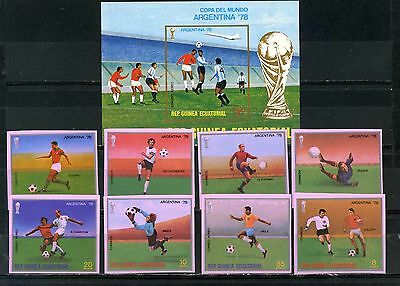 EQUATORIAL GUINEA 1978 SOCCER WORLD CUP ARGENTINA SET OF 8 STAMPS & S/S IMP.MNH