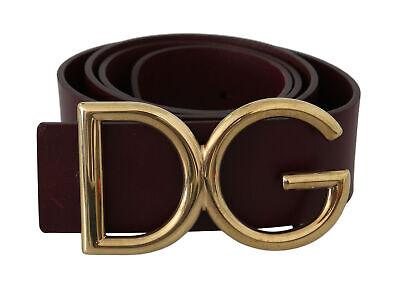 DOLCE & GABBANA Belt Brown Leather Gold DG Logo Buckle s. 90cm / 36in RRP $600