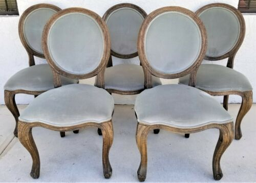 Set of 5 ARHAUS Margot Bergère French Country Weathered Solid Wood Dining Chairs