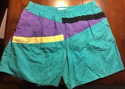 Vtg Southern Surf Swim Trunks Shorts Size XL Color Block 90s Green Purple Yellow