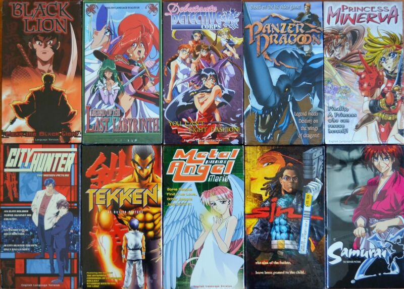 Wholesale Lot Of 10 Anime Vhs Video Motion Picture Movies Ova